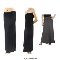 2-in-1 Maxi-Skirt & Strapless Dress - Black or Charcoal