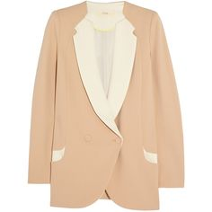 O'2nd Two-tone crepe blazer featuring polyvore, fashion, clothing, outerwear, jackets, blazers, coats & jackets, blush, lined jacket, double breasted jacket, double breasted blazer, slim fit blazer and slim double breasted blazer