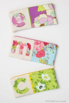 I am over at Make it & Love it  today sharing a tutorial for these cute monogrammed zipper pouches .        I raided my fabric and trim scra...