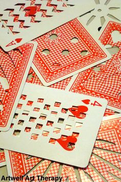 Stencils made from playing cards.