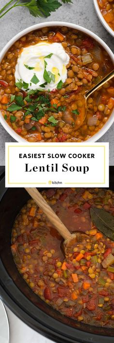 Easy Slow Cooker Lentil Soup Recipe. Looking for recipes and ideas for easy weeknight meals cooked in crockpots or crock pots? This healthy meals full of plant based proteins thanks to the pulses! Gluten free, dairy free, vegan, and vegetarian, so it's easy to eat your veggies. You'll need vegetable broth or stock, tomatoes, onions, carrot, celery, green lentils, garlic, tomato paste, and spices.
