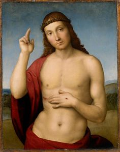 """Raffaello, Cristo redentore benedicente, 1505 circa, olio su tavola. """"The little Raphael, is a gem! The warm light, the pearl-grey shadows, the firmness of the outline, the execution of the hair, the rich & transparent crimson drapery, - everything is wonderful!"""" (Otto Mündler in visita alla galleria Tosio nel 1858)."""