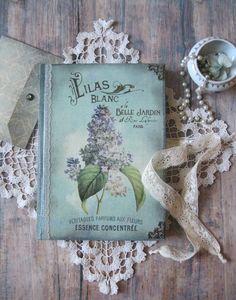 Lila Blume Tagebuch Journal Notebook shabby chic von BethStyleBook