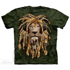 DJ Jahman T-Shirt ❤ liked on Polyvore featuring tops, t-shirts, brown t shirt, lion tee, lion t shirt, brown tee and brown tops