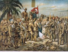 THIS DAY IN WWI: APR 29, 1916 - British surrender to the Ottomans at Kut. Pictured: 'British Capitulation at Kut-El-Amara', anonymous Turkish artist, Chromolithograph, 1918 (c)