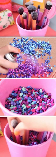 Make-up brush pot - DIY und Selber Machen Deko - Dorm Room İdeas Crafts For Girls, Diy For Girls, Diy And Crafts, Teen Crafts, Kids Diy, Kids Girls, Diy Tumblr, Diy Y Manualidades, Tumblr Rooms