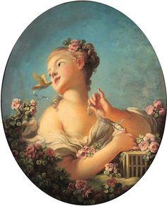 Jean-Honoré Fragonard - Jeune fille libérant un oiseau