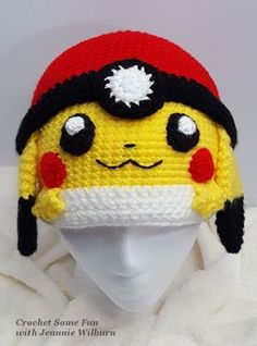 dc6df6a4525129 I was inspired to create this hat pattern for my Daughter who loves Pokemon  Pocket Monsters