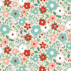 dashwood studio fabric Christmas Wish Flower vintage floral 100% cotton quilting