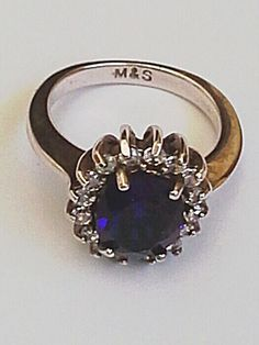 Size7 Woman Marks & Spencer Blue White Jewelry Rings Fashion Party Free Shipping