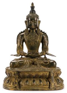 19th C. Amitabha Buddha, Parcel Gilt Bronze : Lot 925. Estimated $10,000-$20,000