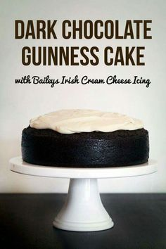 Dark Chocolate Guinness Cake with Baileys Cream Cheese Icing moist and dense but not too heavy. Dark Chocolate Guinness Cake with Baileys Cream Cheese Icing Chocolate Guinness Cake, Decadent Chocolate Cake, Dark Chocolate Cakes, Chocolate Desserts, Chocolate Cream, Chocolate Torte, Chocolate Cheesecake Recipes, Chocolate Heaven, Irish Recipes