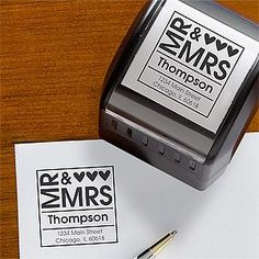 instead of printing 500+ return address labels for thank yous, invites, save the dates, and replies...get a stamp! great idea!