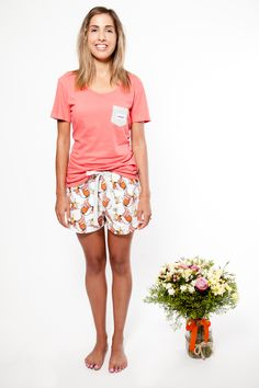 Hello Mrs pyjama shorts with womens Give us a T!Shirt in rose. Both made with 100% organic fairtrade cotton. www.thegoodnightsociety.com.au Flowers by #beardedladystyle