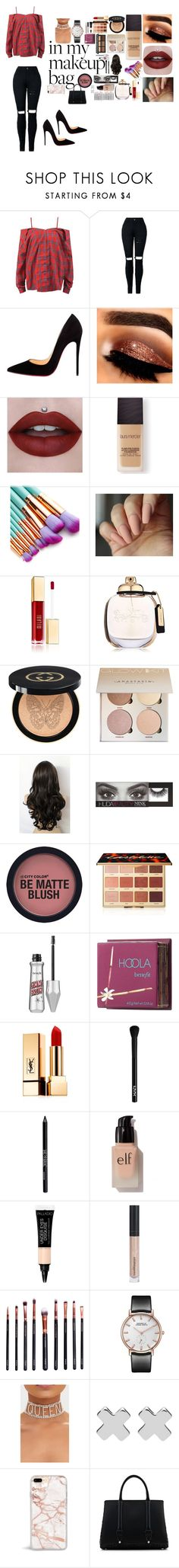 """date time"" by melissaqueen100 ❤ liked on Polyvore featuring Sans Souci, Christian Louboutin, Laura Mercier, Coach, Gucci, Huda Beauty, tarte, Benefit, Yves Saint Laurent and NYX"