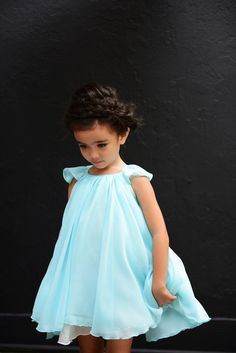 The Isabella Dress in Ice Blue. 3 Layers of gorgeous silk georgette. Sizes 3y - 8y