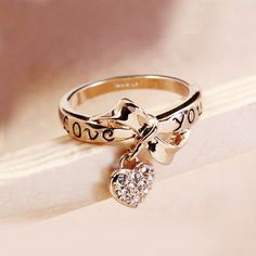 Alloy 18K Gold Plated Bowknot Crystal Heart Women's Ring