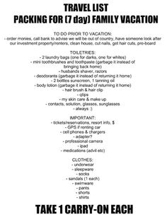 packing list!!!