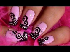 Pink Nails With Black Swirl Hearts Design Nail Art Idea Nail Art Designs, Heart Nail Designs, Fingernail Designs, Black Nail Designs, Nails Design, Heart Nail Art, Heart Nails, Sexy Nails, Love Nails