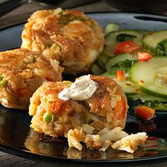 Dungeness Crab Cakes With Whole Grain Mustard Sauce and Cucumber Salad | Private Selection™ Gourmet Recipes | Private Selection™