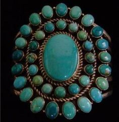 """Navajo Indian """"New"""" Carico Lake Turquoise Sterling Silver Bracelet  Signed by Navajo Artist """"D Livingston""""  New Mexico"""