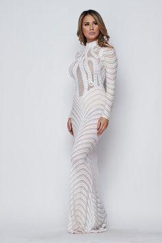 828038676520 Chocker neck long sleeves sequin dress with open back - Dress - Long Sleeve  - Sequin