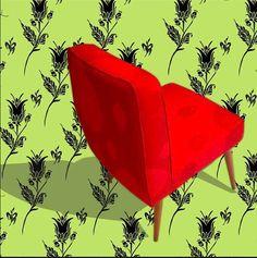 Esta silla años 70 se encuentra en Casa Las Heroínes Cra.12 No. 70-29 Bogotá/ 70s chair in PATIUM pattern with FLOWDONES pattern in the background. #lottihaeger #architecture #arquitectura #casa #color #colour #couleur #design #diseño #decoración #decoration #färg #fabric #furniture #hem #home #inredning #interiordesign #maison #meuble #möbler #patrones #patterns #papierpeint #telas #tyger #tissus #textiles #wallpaper