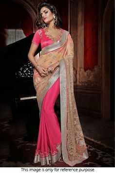 Bollywood Style Model Georgette and Net Saree In Pink and Beige Colour NC1917