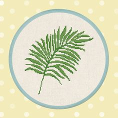 Palm Leaf. Tropical PDF Cross Stitch Pattern Instant Download