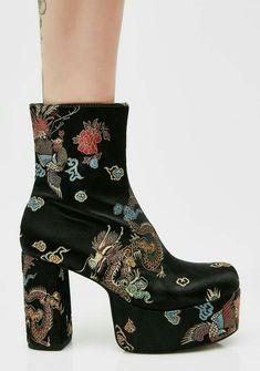 357e40eb761 Current Mood Spittin  Fiyah Brocade Boots cuz ya scarin  all your haterz  away. Keep the fire up with these brocade satin platform ankle boots that  have a ...