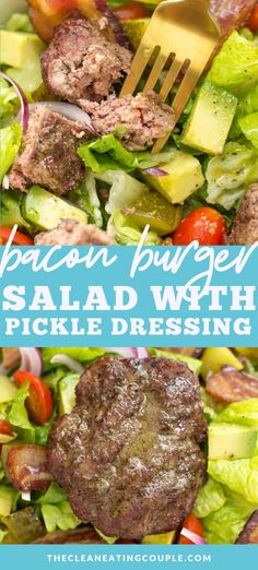 This Burger Salad with Dill Pickle Vinaigrette is the perfect easy summer dinner! This bunless recipe is loaded with all the flavors of a great burger while being keto and gluten free. Healthy Beef Recipes, Healthy Meal Prep, Whole30 Recipes, Paleo Menu, Healthy Foods, Healthy Eating, Clean Eating Guide, Clean Eating Recipes, Pasta Salad