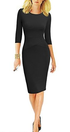 f275257e76 REPHYLLIS Women 3 4 Sleeve Striped Wear to Work Business Cocktail Pencil  Dress (Large