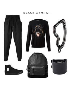 Black Gymrat Clockwise: #track pants by #alexandreplokhov, #rottweiler sweater by #givenchy, Arcus #Carabiner keychain by @svorndesign, #cuff by #rickowens, #leatherbackpack by #balmain for #hm,  #sneakers by #undercover  #gym #fashion #gymrat #streetwear #menswear #accessories #active