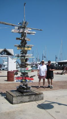 Ted and Ocsi at the Mileage sign as you enter the Historic Seaport in Key West