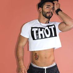 Tough guy wearing a sexy half shirt