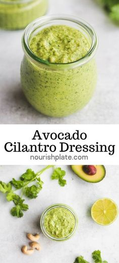 Super creamy and flavorful avocado cilantro dressing to drizzle over roasted veggies, pasta salads, or rice bowls. This recipe uses very simple ingredients and it's ready in just 5 minutes!. #dressing #avocadocilantrodressing #vegandressing #quickdressing #avocadopesto Avocado Cilantro Dressing, Avocado Pesto, Best Vegetarian Recipes, Easy Healthy Recipes, Savoury Recipes, Vegan Meals, Vegan Desserts, Salad Works, Dressing Recipe