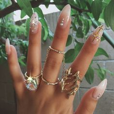 almond nails and rings images - Google Search