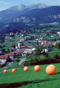 Five Orange Spheres was an installation by artist Stuart Williams that consisted of five inflatable spheres each 6-feet in diameter that traveled the world for two and a half years in the 1980s.