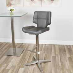 Grey Brushed Stainless Steel X Base High-Back Adjustable Height Swivel Bar Stool