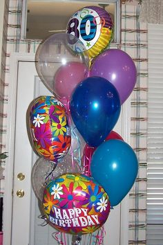 80th Birthday Balloon Bouquet We Deliver Balloons In All Of Denton County Clear
