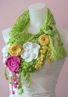 Crocket infinity scarf Women fashion accessories Spring fashion Loop scarf Flower scarf