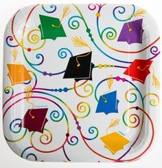 These plates look great with any solid color table cover and cups.  Congratulations Graduate Graduation Paper Plates 10 Count 7 Inch Dessert Plates