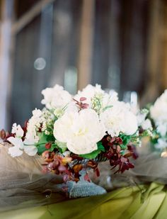 White peony centerpiece.  Rust and Olive.  // Jose Villa Photography ~ www.adornmentsflowers.com