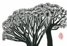 LINOCUT RELIEF PRINT   Dragon Trees  Wall Art Wall by magprint