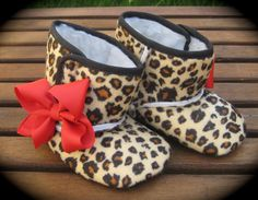 Rockabilly Baby Girl Cheetah Crib Boots With Red Bows. $14.00, via Etsy.