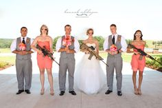 I'm imagining this only bridesmaids in floral dresses, and sexy little pistols instead. LOL