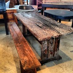 reclaimed teak: bench from mosque ($400), table from railroad ties ($1300)