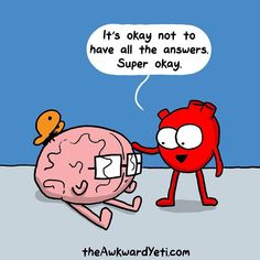 Akward Yeti, The Awkward Yeti, Cute Comics, Funny Comics, Heart And Brain Comic, Love My Parents Quotes, Me Quotes, Funny Quotes, Text Jokes