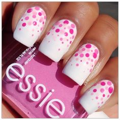 White nails with ombré pink dots reverse French manicure Fabulous Nails, Gorgeous Nails, Love Nails, Pretty Nails, Fingernail Designs, Nail Art Designs, Nail Polish Designs, Dot Nail Art, Polka Dot Nails