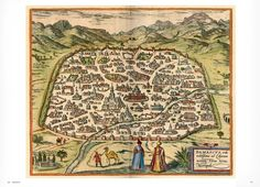 Syria: Braun & Hogenberg map of Damascus, circa 1600 (According to Wikipidia Damascus is the oldest continually inhabited city in the world)
